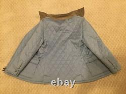 Loro Piana Sz 46 Womens 100% Cashmere Blue Quilted Jacket Coat Suede Trimmed