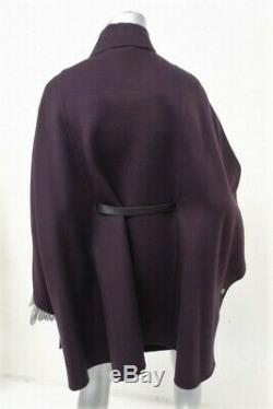 Loro Piana Vendome Belted Cashmere Cape with Leather Trim Purple One Size