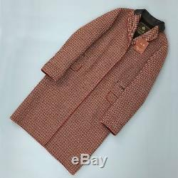 Loro Piana Women CASHMERE Wool Red Brown Check Tweed Long Coat Size IT40 S US4
