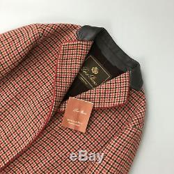 Loro Piana Women CASHMERE Wool Red Brown Check Tweed Long Coat Size IT 40 S US 4