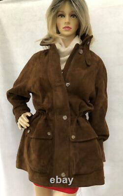 Loro Piana Women Coat Jacket Brown Suede Withcashmere Lining Drawstring Size L