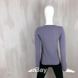 Loro Piana Women Lilac CASHMERE Cable Knit Jumper Sweater Pullover Size S IT40