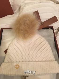 Loro Piana Women's white cashmere hat with brown puff ball