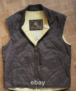 Loro Piana quilted bodywarmer cotton cashmere M Medium vest gilet brown zipped