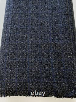 Loro Piana wool cashmere flannel charcoal with blue check jacket suit fabric