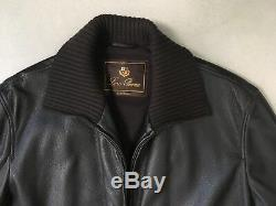 Loro piana brown leather coat car xxl xl 56 54 cashmere lining