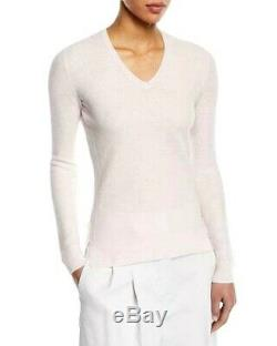 Loved LORO PIANA 100% Cashmere soft V-neck Sweater Baby Pink Knit S M Luxe ITALY