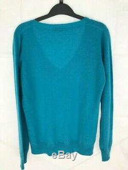 Luxury Loro Piana teal blue 100% cashmere v-neck sweater top women 44 Made Italy