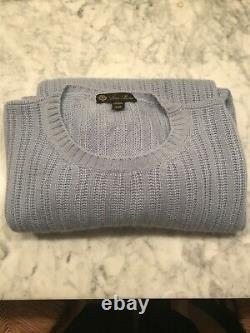 Mens SZ 52 Loro Piana 100% Cashmere Knit Sweater. XL / XXL. Blue. Made In Italy