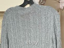 NWT LORO PIANA $1,695 100% BABY CASHMERE Cable Knit Sweater Grey Melange 56