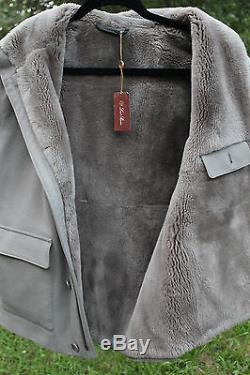 NWT Loro Piana Corvara Gilet Baby Cashmere Storm System Fur Vest Size S BUTTERY
