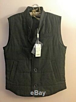 NWT Loro Piana Quilted Wool-Cashmere Buttoned Rain System Vest Dark Gray Size 48