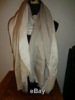 New Loro Pianaaylit Pure Colorblock Cashmere Silk Scarf Wrap Stole Beige
