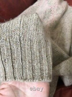 Preowned Loro Piana Italy Beige Pink Patterned Cashmere Turtleneck Sweater 44