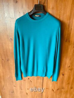 RRP £1165 LORO PIANA JUMPER Green Pullover 100% Baby Cashmere LARGE BNWOT