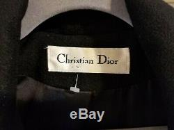 VTG Christian Dior Loro Piana 100% Italian Cashmere Black Long Coat Size 10